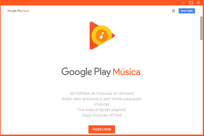 Baixe e instale Google Play Music no Windows, Linux ou Mac 3